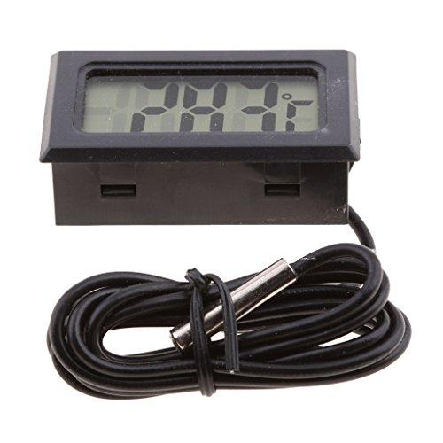 Dolity Digital LCD Thermometer -50℃ bis -110℃ Digitalthermometer, Temperatur Messer Wasserthermometer - Schwarz