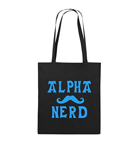 Comedy Bags - Alpha Nerd - Schnurrbart - Jutebeutel - Lange Henkel - 38x42cm - Farbe: Schwarz/Blau
