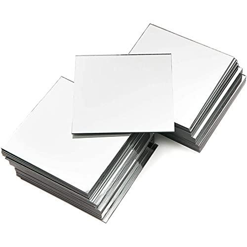50 Pack Square Glass Mirror Tiles, 4 Inch Panels for Crafts, Centerpieces, DIY Home Decor