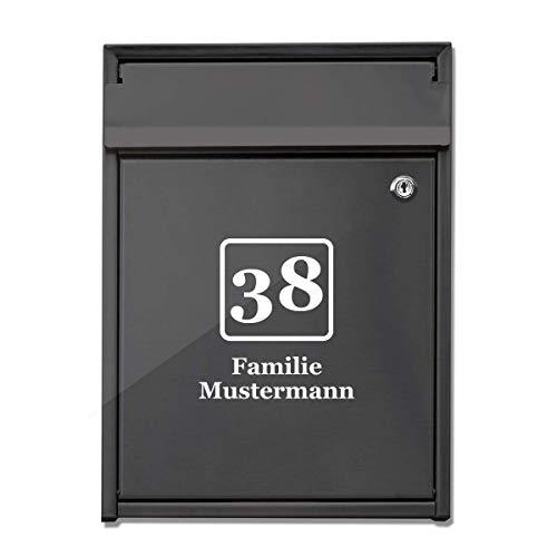foliado® Hausnummer Familie Name für Briefkasten selbstklebender Aufkleber Milchglasfolie oder farbige Folie für Haustür Glasdekor Namensschild | Größe bis 15 cm | #APD-016