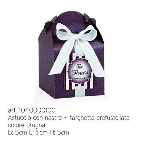 Lot de 20 Boîte Prune Nacré Box Amandes Sacs 5 x 5 x 5 cm avec du ruban adhésif et plaque murale