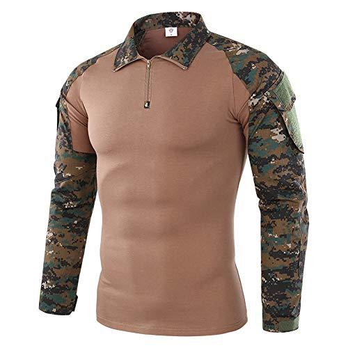 Camicia Tattica da Uomo Camicia Esercito Manica Lunga Slim Fit Camicia da Combattimento Airsoft Camicia Mimetica Paintball Outdoor