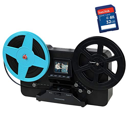 Magnasonic All-in-One Super 8/8mm Film Scanner, Converts Film into Digital Video, Scans 3', 5' and 7' Super 8/8mm Film Reels with Bonus 32GB SD Card (FS81)