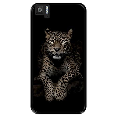 Hapdey Funda Negra para [ Bq Aquaris M5 ] diseño [ Leopardo, Mirando ] Carcasa Silicona Flexible TPU