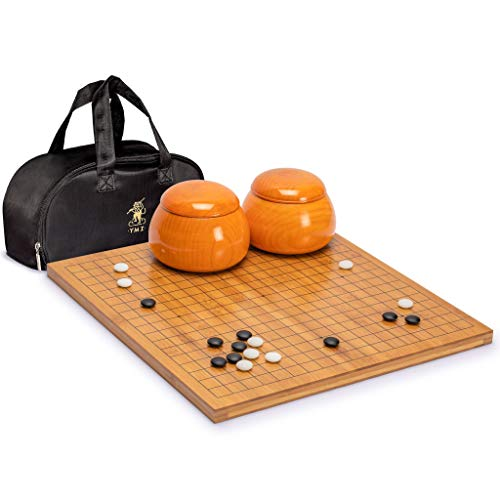 Yellow Mountain Imports Bamboo 0.8-Inch Reversible 19x19/13x13 Go Game Set Board with Double Convex Yunzi Stones and Jujube Wood Bowls