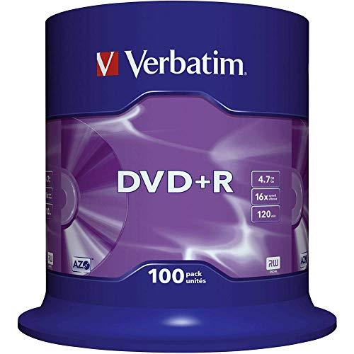 VERBATIM Lot de 100 DVD+R - 4,7 Go - Vitesse de Gravure 16 Fois - Longue durée de Vie et Protection Anti-Rayures - Argenté Mat