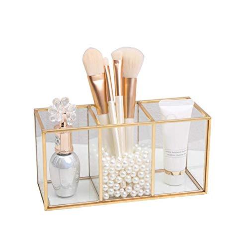 ZJONE Glas Gold Kosmetik Organizer Transparent Make Up Aufbewahrung Mit 3 Fächern Schminkaufbewahrungs Boxen Set Für Schminktisch Badezimmer (A)