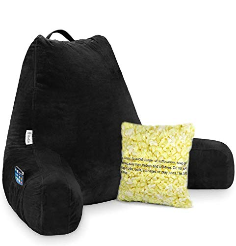 Vekkia Premium Soft Reading & Bed Rest Pillow with Memory Foam, Support Arms, Pockets, Removable Cover. Perfect Back Support for Reading/Relaxing/Watching TV –Extra Foams Incl. (24 in, Black)