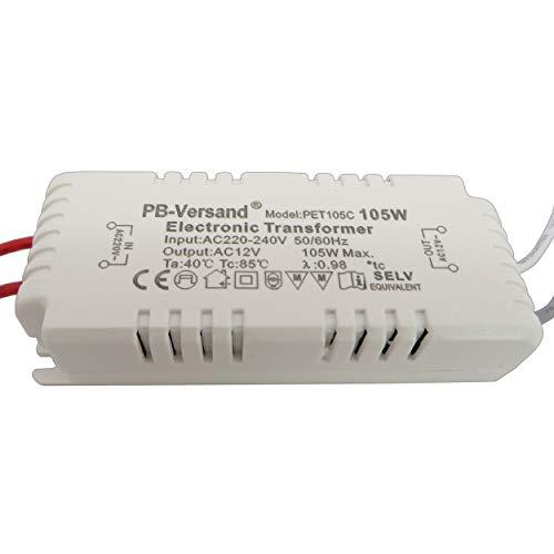 LED Trafo 0-60 Watt 12V~ AC/Halogen bis 105W Wechselstrom Transformator für G4, GU5.3, MR16, MR11 Spots und vieles mehr (60W)