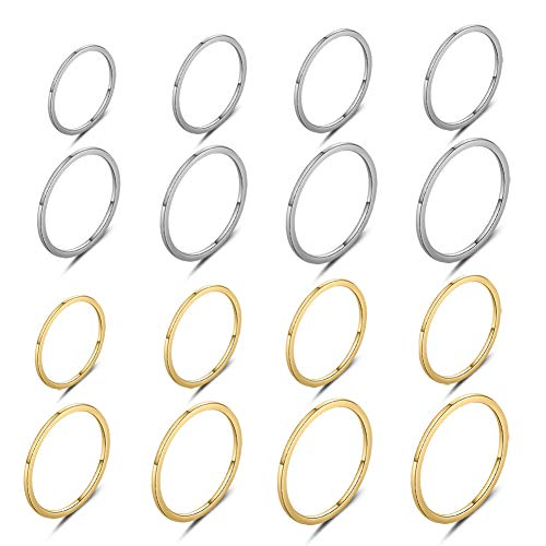 LuckyAmor 1mm-2mm Band Rings Set for Women Stainless Steel (16pcs-Silver&Gold—Size(3-10)-1mm)