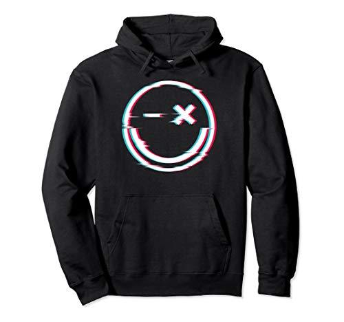 Glitch Techno Smiley - Techno Merchandise Festival Rave Pullover Hoodie