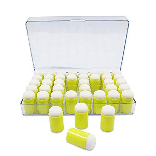 40 esponjas para dedos con estuche de almacenamiento, esponja para pintar con dedos para pintura, dibujo, manualidades, tiza para hacer tarjetas, manualidades para niños (amarillo)