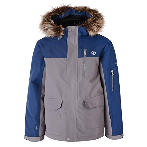 Dare 2b Jungen Furtive Waterproof Breathable High Loft Insulated Parka Style Ski Snowboard Jacket with Removable Faux Fur Trim and Snowskirt Jacke, Aluminium grau/Admiral grau, 27 EU-28 EU