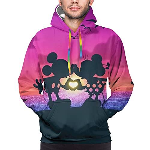 Mickey Mouse Minnie Mouse - Sudadera con capucha para hombre, deportes y ocio, temperamento cómodo al tacto, todo partido, ropa de moda para hombre, color negro