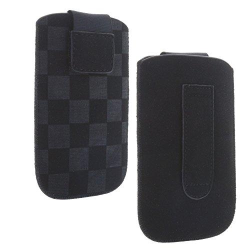 Handy-Tasche mit Ausziehhilfe Größe S - passend ür Doro PhoneEasy 609 612 6030 Select - Primo 406 413 - Swisstone BBM 620 - Hülle in schwarz