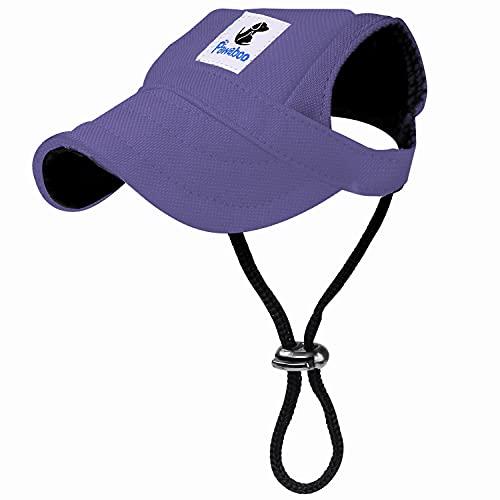 Pawaboo Hunde Baseballmütze, Basecap Verstellbar Sonnenschutz Hut Hundecap mit Ohrlöchern für Welpen Haustier - X-Groß, Lila