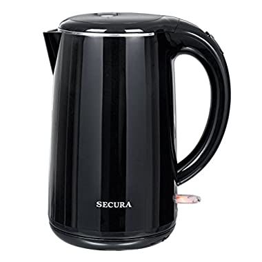 Secura The Original 1.8Qt Stainless Steel Double Wall Electric Tea Kettle with Auto Shut-Off & Boil Dry Protection Water Boiler (BPA-Free/FDA Certified/ETL Approved)