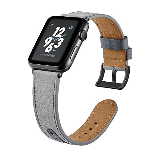 Leather Band Compatible with Apple Watch 40mm 38mm, Vintage Classic Elegant Leather Loop for Apple Smart Watch Series 1 2 3 4 GPS, GPS+ Cellular Men Women Gray Suede Leather (Gray, 38mm, 40mm)