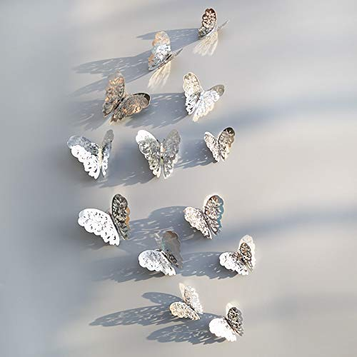 12 unids 3D hueco mariposa pared pegatina para decoración del hogar DIY mariposas nevera pegatinas color plata estilo - A