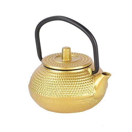 Tetera práctica, duradera, hecha de hierro fundido, cómoda de sostener, elegante (dorado)