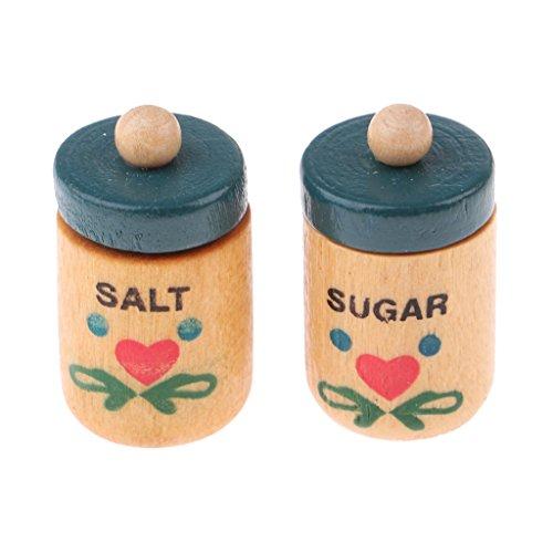 Escala 1/12 Miniaturas Utensilios de Cocina Botellas de Especias de Madera de Dollhouse
