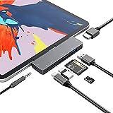 Hub USB C para iPad Pro 2020 2018, 7 en 1 Adaptador USB Tipo C a 4K HDMI con USB 3.0, PD, Lector de Tarjetas SD/TF, Conector de Auriculares de 3,5 mm, Compatible con el Nuevo iPad Pro de 11 '/ 12.9'