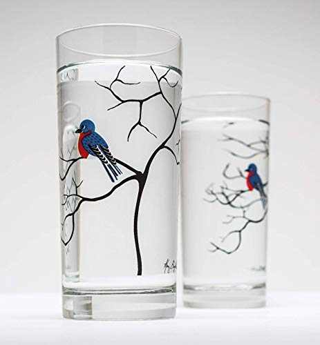 Bluebird Glassware - Set of 2 - Drinking Glasses 16 oz