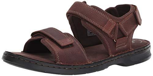 Clarks Men's Malone Shore Sandal, Dark Brown Tumbled Leather, 130 M US