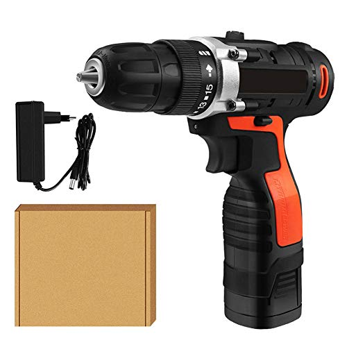 FFXENG Cordless Drill, 32Nm 16.8V Electric Drill Driver, 1.5H Fast Charger, 1 Batteries, 18+1 Torque Setting, 2 Speed, 10mm Metallic Chuck, Flexible Shaft, Best Gift for DIY