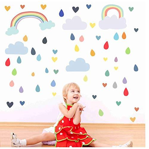 Muursticker DIY Regenboog Regendruppels Muursticker Kinderkamers Cartoon Kwekerij Badkamer Woonkamer Thuis Shop Raamdecoratie Muurstickers