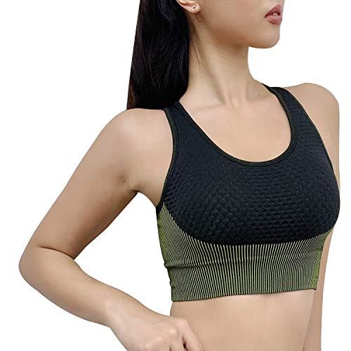 Angel-fashions Soutien-gorge de sport pour femme Croix dos Confort entraînement Gym Active Yoga Brassière - Vert - Taille M