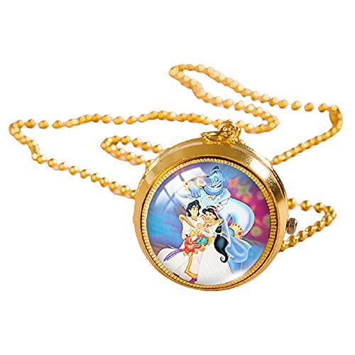 Aladdin and the Magic Lamp Reloj de bolsillo Collar Princesa Color Oro Vintage Reloj Cristal Cúpula Colgante Joyería Regalos