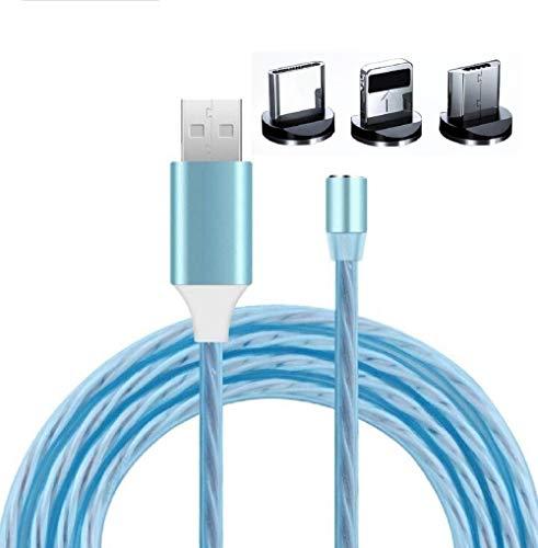 Cavo USB Magnetico LED calamita Rotazione 360° Ricarica Rapida Tre in Uno Tipo UNISERSALE 1M.di Adattatore Multiplo per Tutta LA Famiglia.