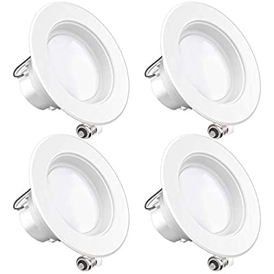 Sunco Lighting 4 Pack 4 Inch LED Recessed Downlight, Baffle Trim, Dimmable, 11W=60W, 3000K Warm White, 660 LM, Damp Rated, Simple Retrofit Installation - UL + Energy Star