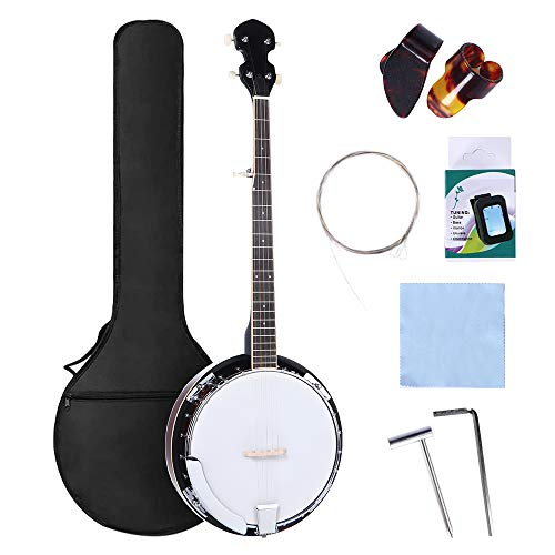 5 String Banjo 24 Bracket, MIRIO 39 Inch Mahogany Open-back Banjo with Resonator and Geared 5th Tuner, Banjo Beginner Kit with Tuner, Strap, Strings, Pickup, 2 Picks,2 Wrench Bridge,cloth and Bag