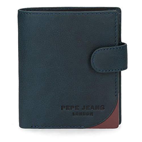 Cartera Pepe Jeans Arrow vertical con cierre de clic azul