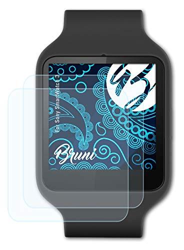 Bruni Schutzfolie kompatibel mit Sony SmartWatch 3 Folie, glasklare Bildschirmschutzfolie (2X)