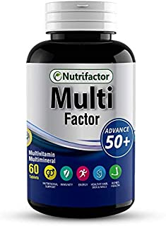 Nutrifactor Multifactor Advance 50 Plus - 60 Tablets For Men & Women - Immunity, Energy, Bone Health, Healthy Hair, Skin &...