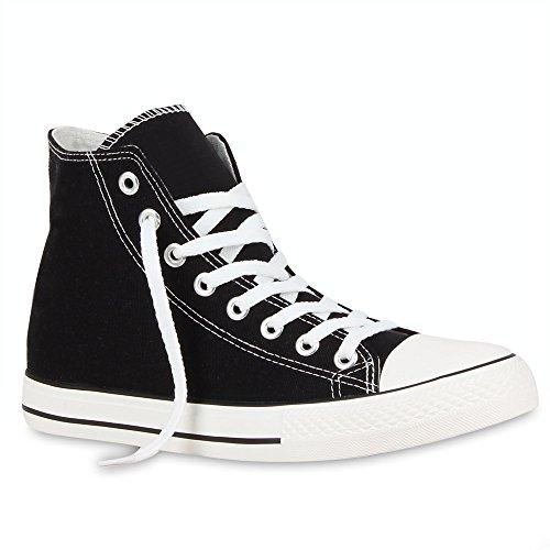 stiefelparadies Herren Sneakers Sneaker High Denim Turn Camouflage Stoff Schnürer Schuhe 54120 Schwarz Ambler 43 Flandell