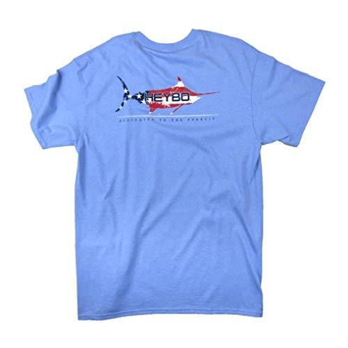 Heybo Mens American Marlin SS Tee, Adult, Sky Blue, XL