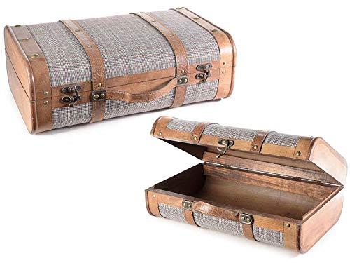 Juego de 2 cajas de almacenamiento con forma de maleta vintage, organizador para casa y armarios de almacenamiento para escaparates y tiendas