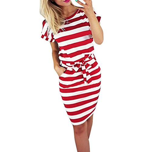 Gusspower Mode Damen Kleid Sommer Casual Rundkragen Kurzarm Gestreifte Krawatte Taille Frauen Batwing Beiläufige Knielänge Rot Kleid (Rot, S/Büste:94cm/37)