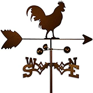 Copper Colored Metal Rooster Weathervane Farm Compass Decor Weather Vanes for Rooftop Rustic Country Decorative Farmhouse Barn Vintage Antique Direction Arrow Wind Spinner, Side Mount Steel