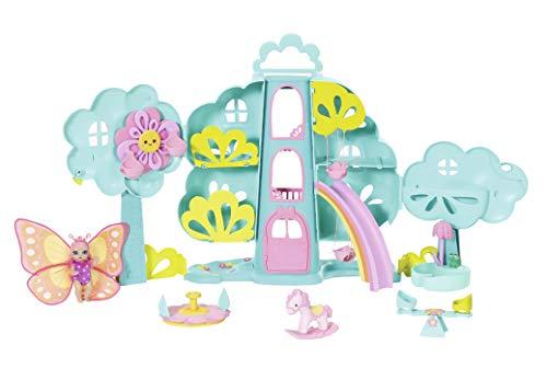 Zapf Creation 904480 BABY born Surprise Spielset Baumhaus - 2-stöckiges Spielhaus mit Aufzug, Regenbogenrutsche, Schaukel, Pool mit Dusche, Karussel, Wippe, Schaukelpferd und einem exklusivem Baby