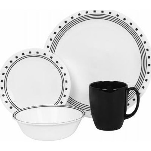 Corelle 16-delige Vitrelle Glas Stadsblok Chip en Break Resistant Diner Set, Service voor 4, Zwart