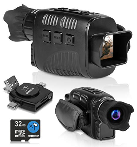 CREATIVE XP 2021 Digital Night Vision Monocular for 100% Darkness - Travel Infrared Monoculars Save Photos & Videos - IR High-Tech Spy Gear for Hunting & Surveillance - Card Reader Included