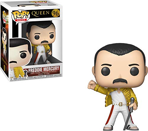 Funko - Pop! Rocks: Queen: Freddie Mercury (Wembley 1986) Figura de Vinilo, Multicolor (33732)