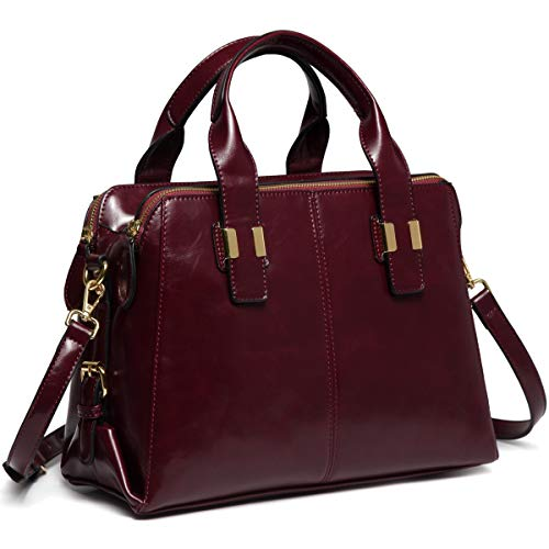 Handbags for Women, VASCHY PU Patent Leather Top Handle Bag Ladies Satchel Work Tote Bag with Triple Compartments