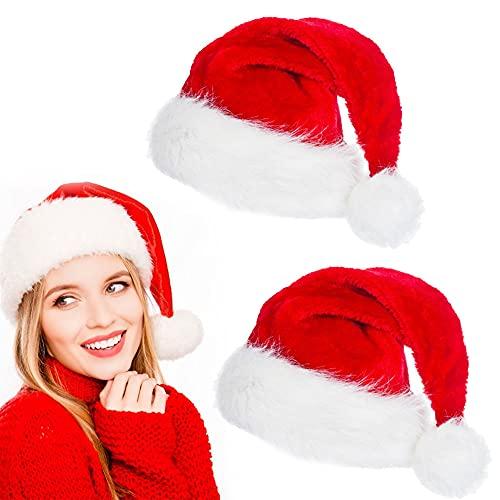 ZACUDA 2 PCS Gorro de Papá Noel de Felpa Gorro Navideño para Adultos y Adolescentes Sombrero Rojo de Santa Claus Suave Sombreros de Navidad Clásico Unisex para Disfraz de Navidad Año Nuevo Fiesta