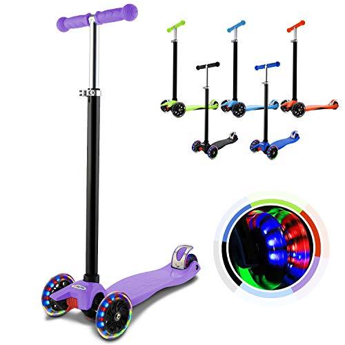 Hikole Kinderscooter Dreirad mit verstellbarem und Abnehmbarer Lenker Tret-Roller LED Räder Blinken für Kinder ab 3 Jahren
